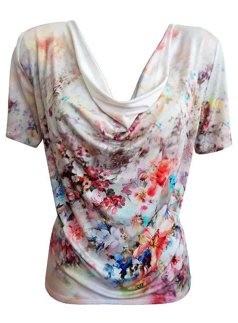 Floral Cowl Neck Shirt