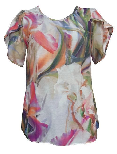 חולצה פרחונית משי -כותנה שרוול עלה