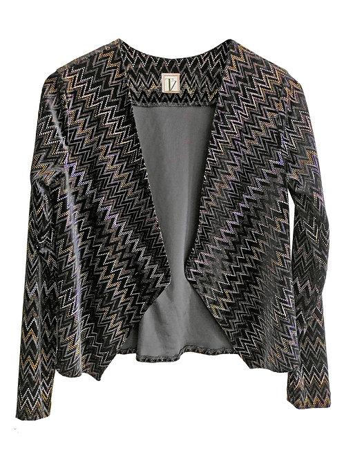 Gold and Black Lurex Velvet Cardigan