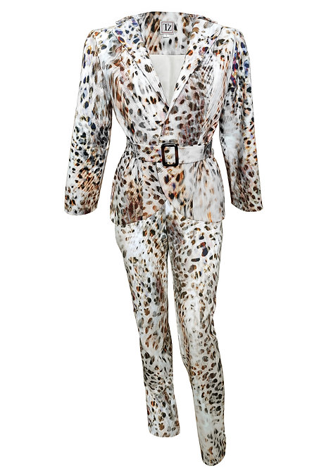 White Leopard Tailored Suit