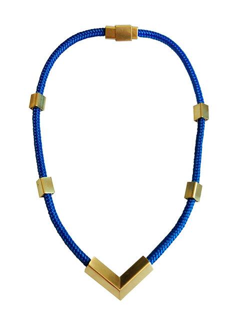 Blue V Rope Necklace