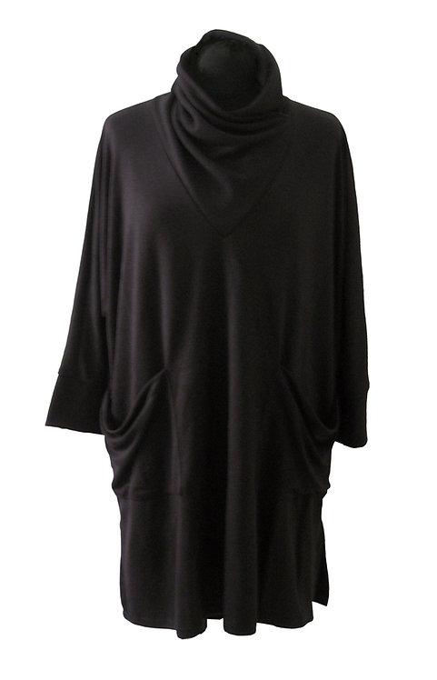Black Turtleneck Tunic Top