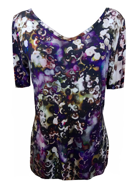 Purple Sequin Print T-Shirt