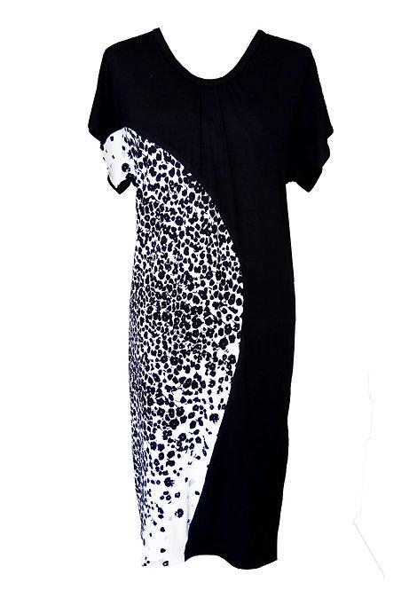 B&W Asymmetric Sack Dress