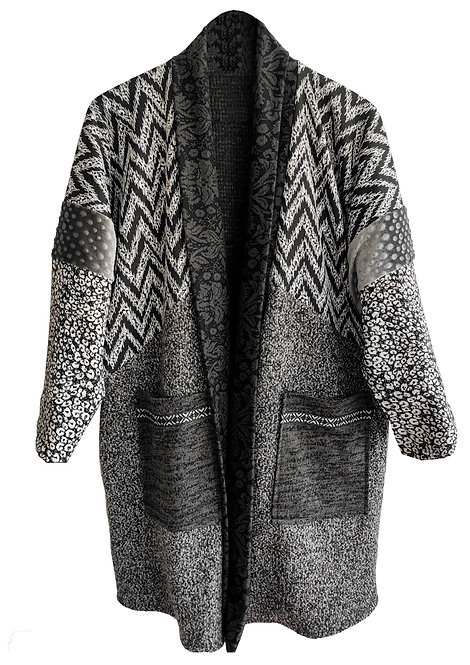 Gray Double-Sided Patchwork Coat