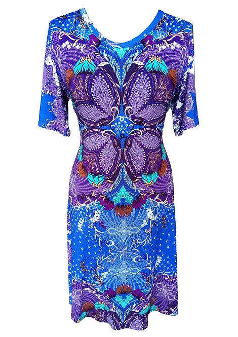 שמלה פרחונית כחולה