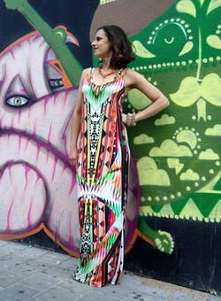 שמלת מקסי גיאומטרית