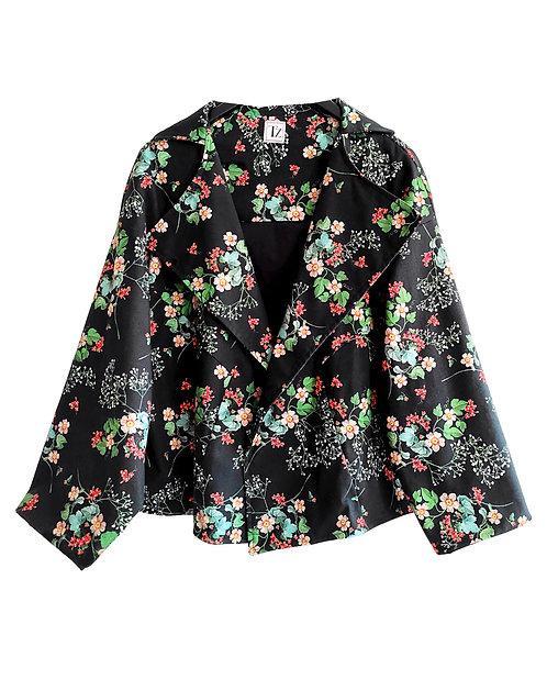 Black Floral Oversized Jacket