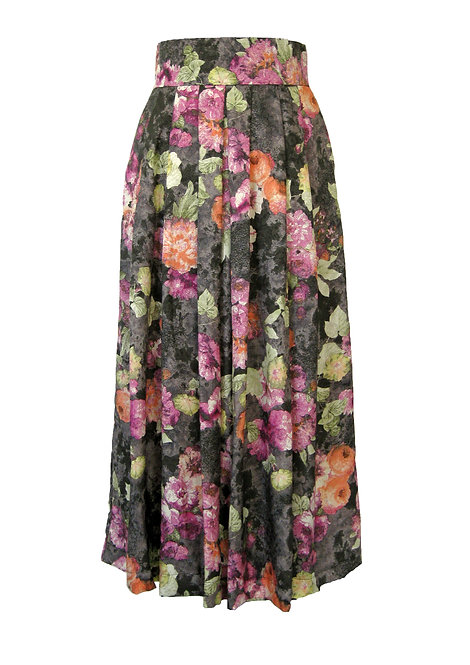 Floral Pleated Sik Skirt