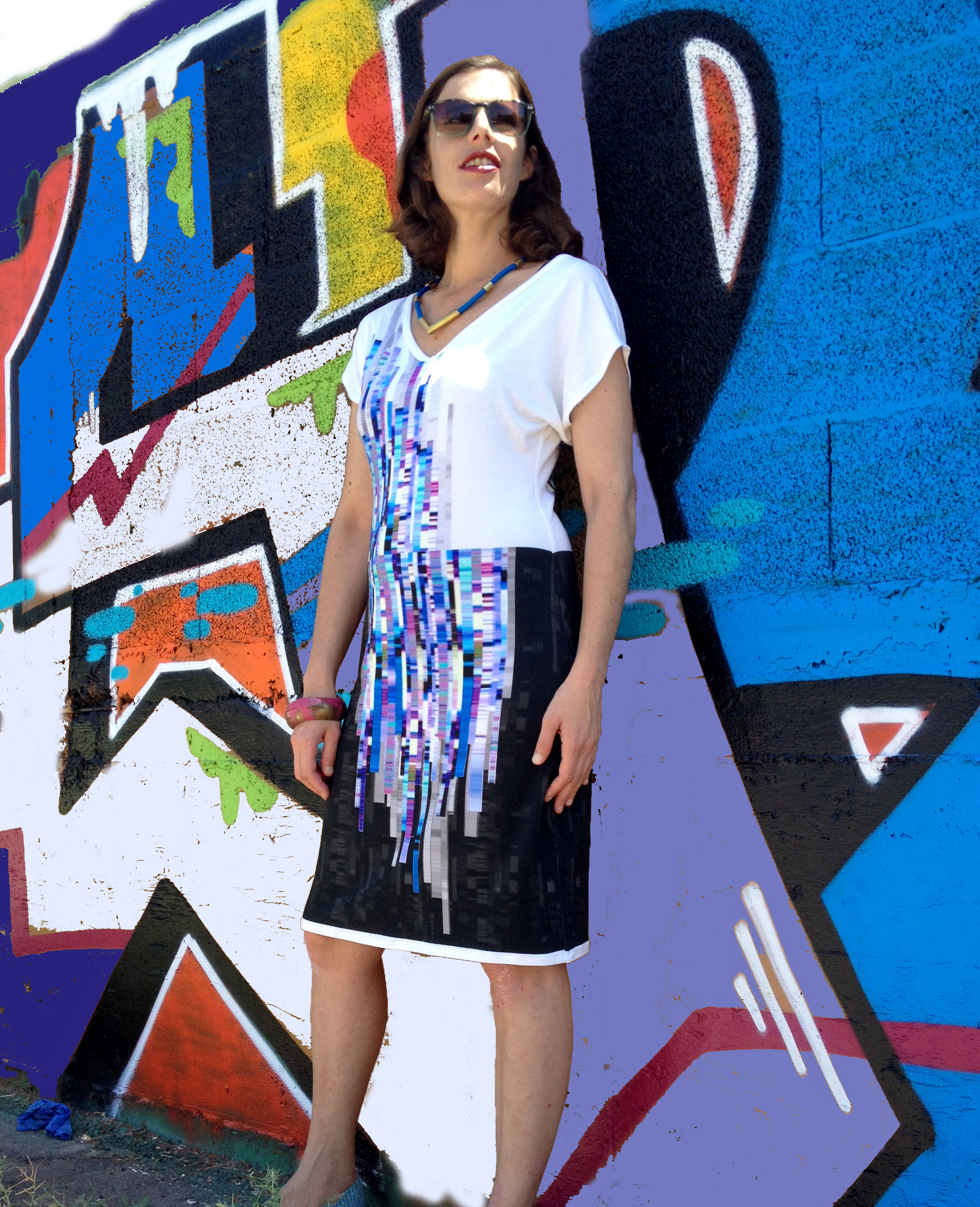 שמלת מניפה גיאומטרית