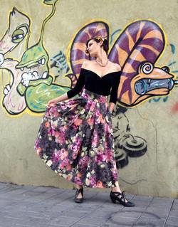 חצאית משי פרחונית