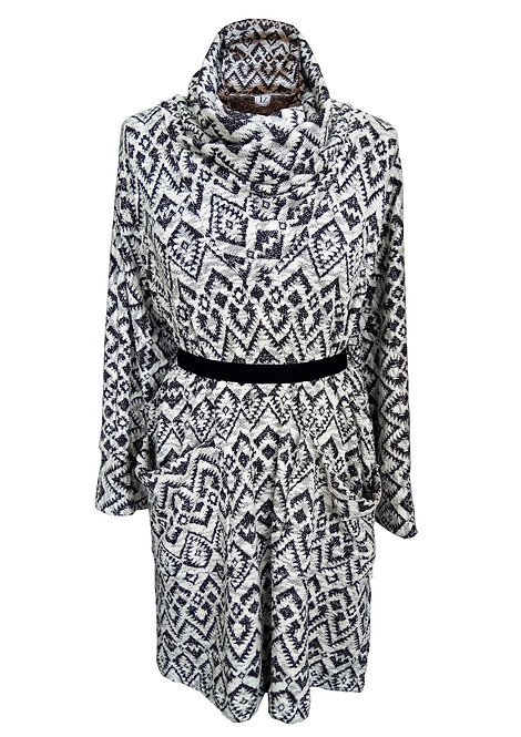 Indian Black and White Knit Oversized Top