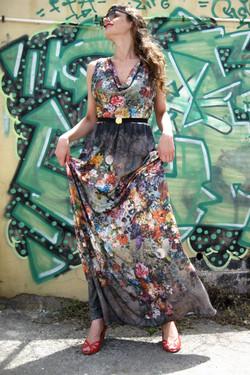 שמלת מקסי פרחונית רבידה