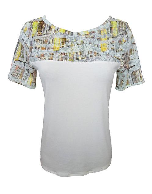 חולצת תחרה צהוב-לבן