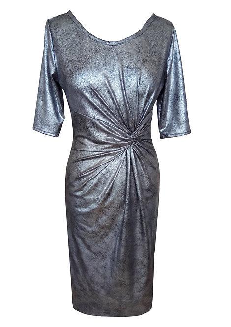 שמלת טוויסט דמוי עור כסופה