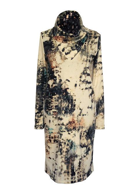 Snaked Turtleneck Dress