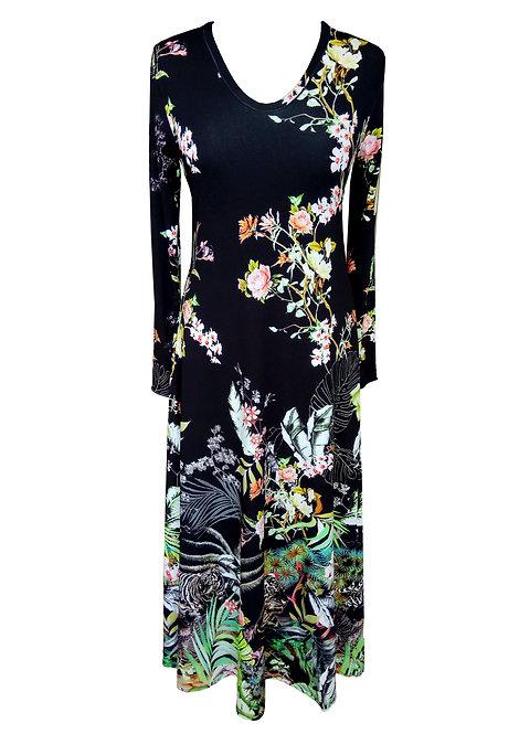 Black Floral Maxi A-line Dress