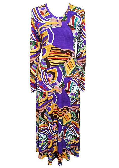 שמלת מקסי מתרחבת אפריקאית