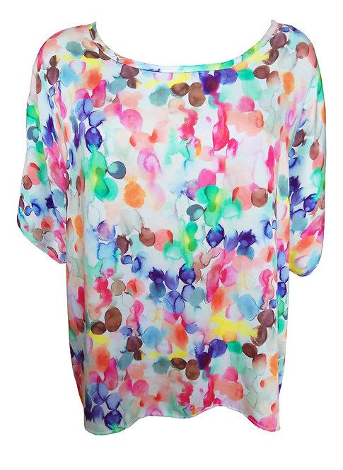 חולצת אוברסייז נקודות צבעונית