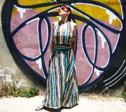 שמלת מקסי קולר פסים