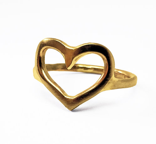 14K Gold Thick Heart Ring