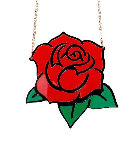 שרשרת ורד אדום חיתוך לייזר