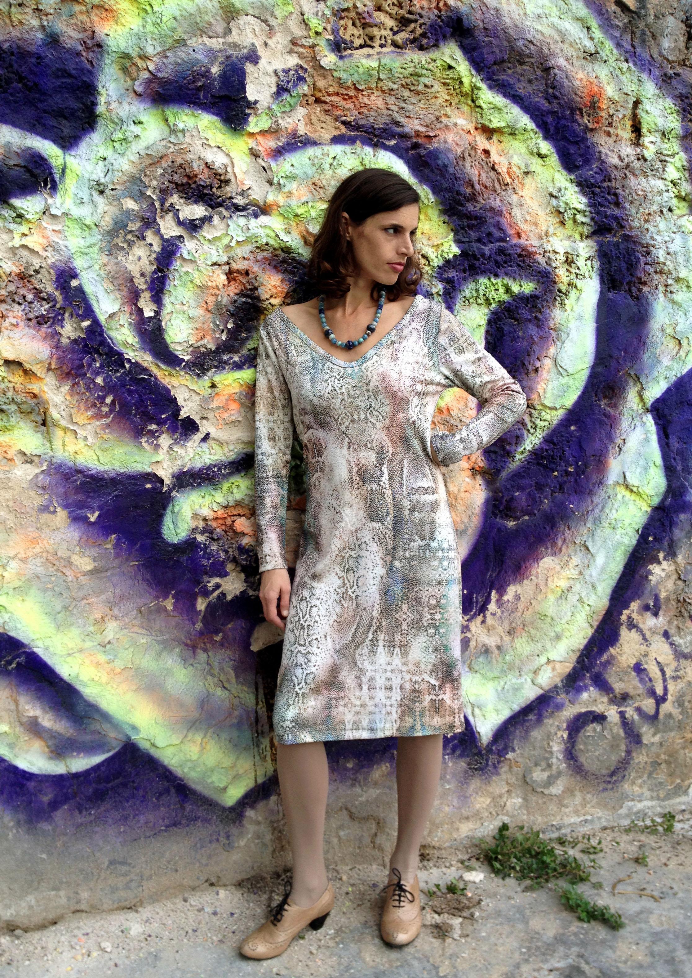 Snaked Jersey Dress - שמלת ג'רזי נחש