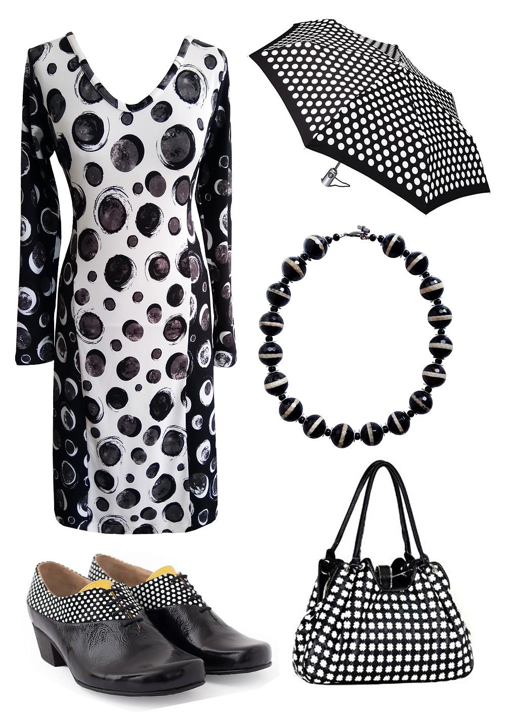 שמלת נקודות שחור לבן