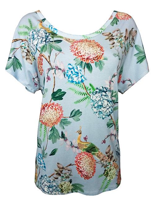 Flowers and Birds Print Shirt