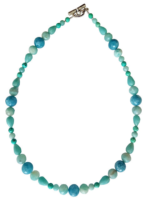 Mix Turquoise and Aqua Jade Necklace