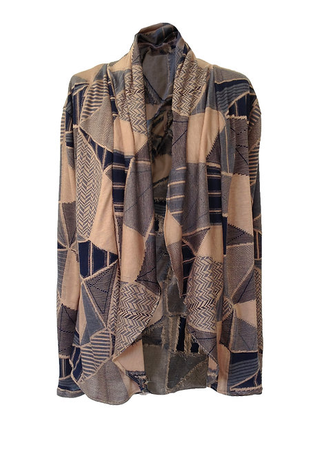 Peach Geometric Knit Cardigan