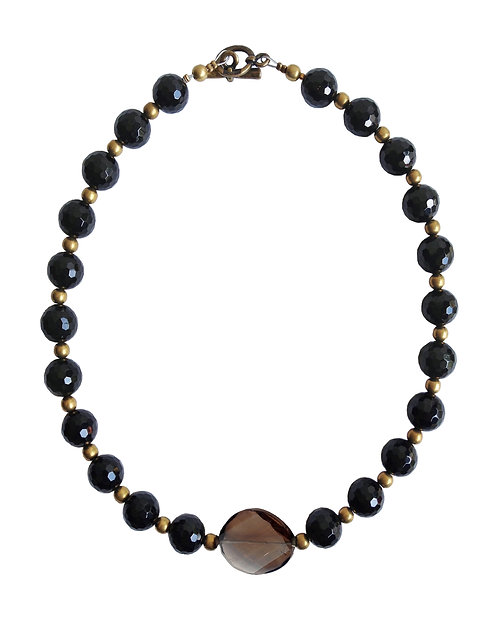 Black Onyx Necklace With Smoky Quartz