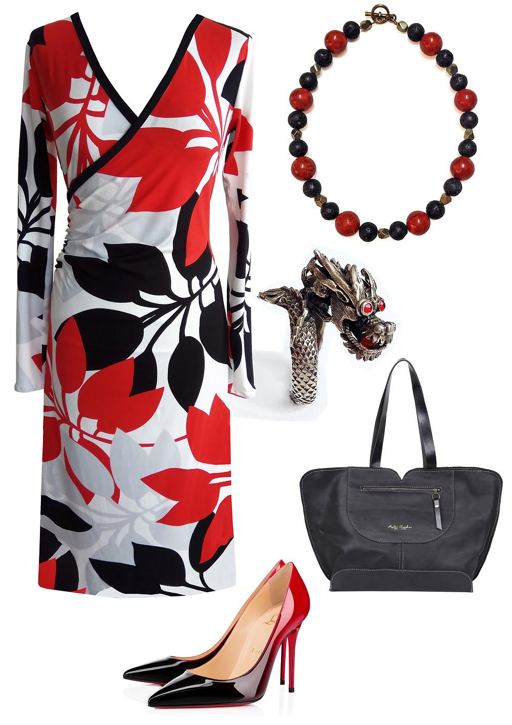 שמלת מעטםה עלים אדומים