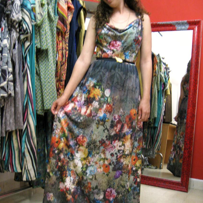 שמלת מקסי רבידה פרחונית