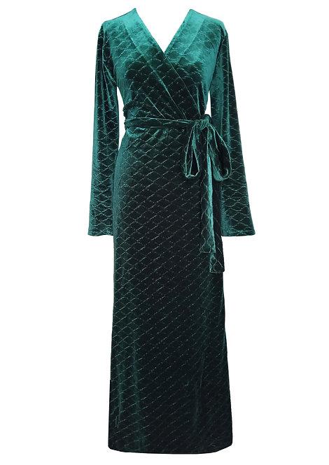 שמלת מעטפה קטיפה ירוקה  עם דוגמת מעויינים