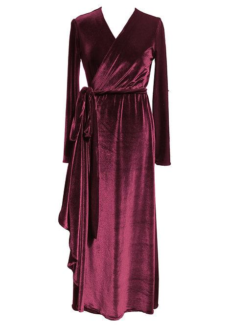 Red Velvet Maxi Wrap Dress