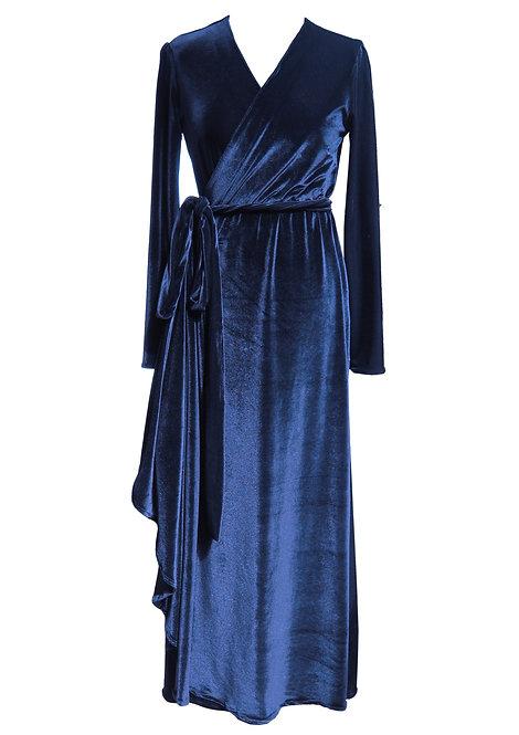 שמלת קטיפה כחולה מעטפה מקסי