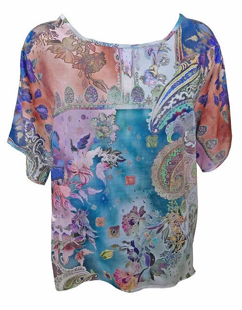 חולצת אוברסייז משי כותנה בוהו