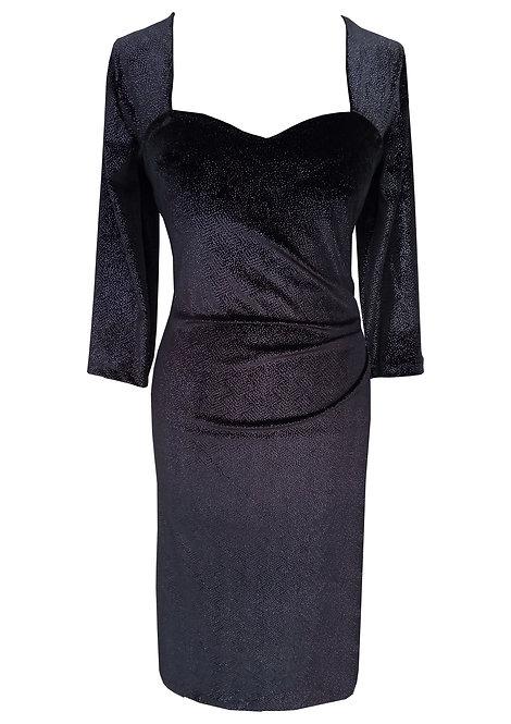 שמלת לבבות קטיפה שחורה