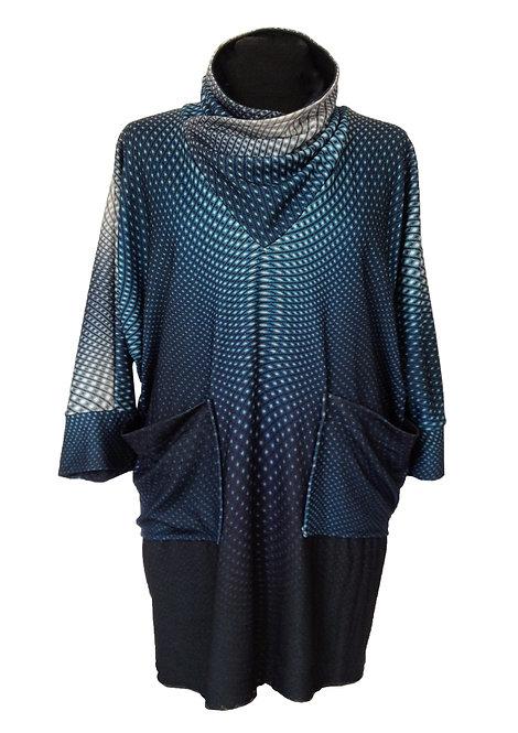 Blue Geometric Turtleneck Tunic-Dress