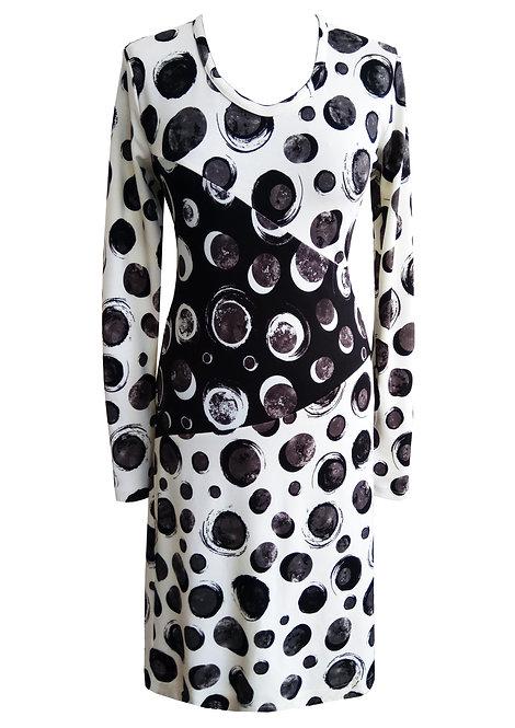 שמלת ג'רזי נקודות שחור לבן