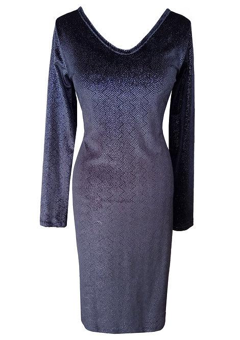 שמלת קטיפה שחורה עם עיטור כסוף
