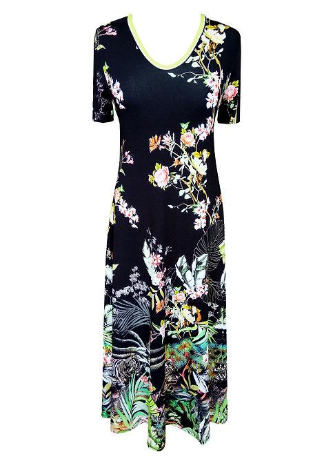 שמלה מתרחבת פרחונית שחורה