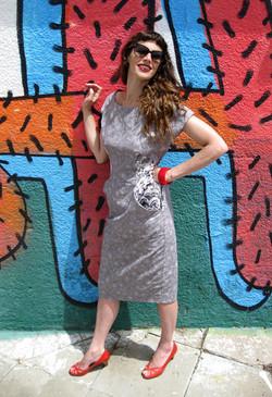 Cotton Gray Dress - שמלת שפיץ אפורה