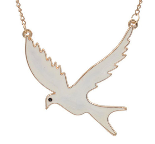 White Bird Enamel Necklace