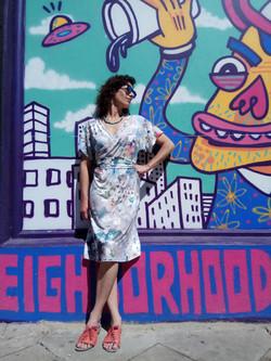 שמלת קימונו פרחונית - פריחת הדובדבן