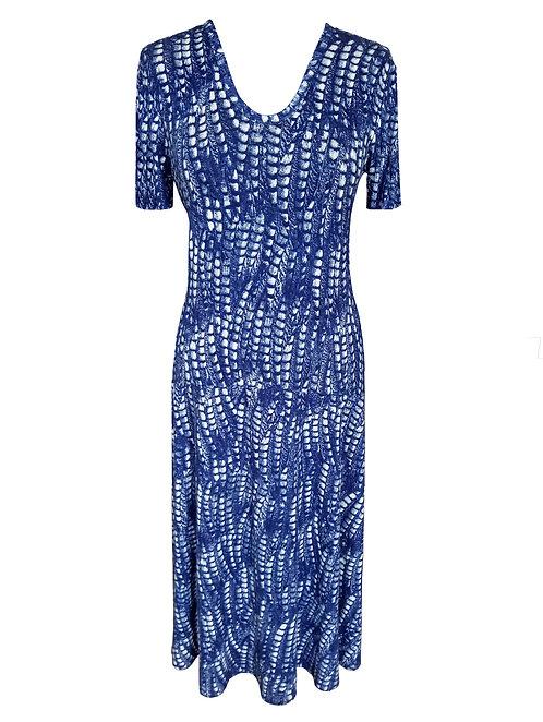 שמלת רותם מתרחבת שיבורי כחולה