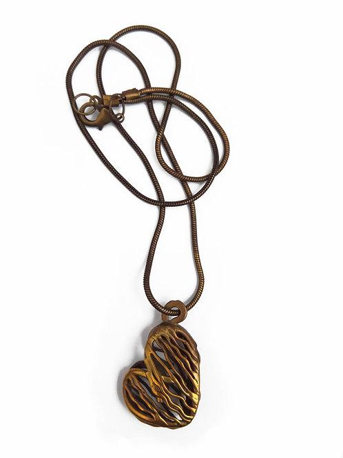 Metalic Heart Necklace - Striped Heart