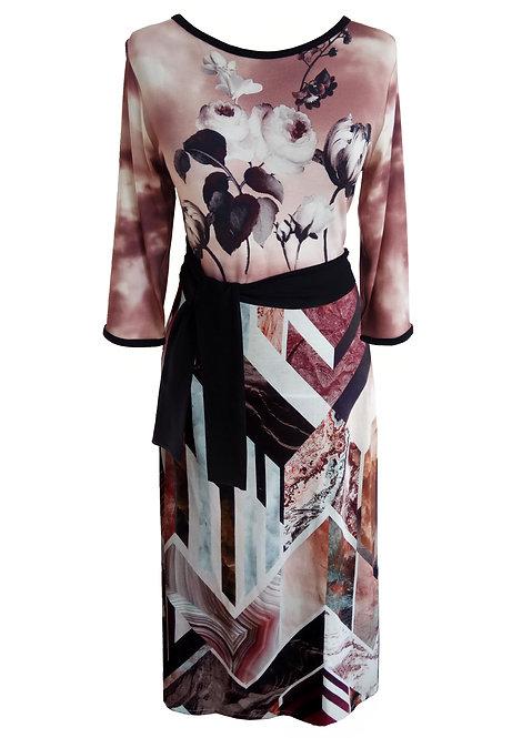 שמלה משולבת הדפסים פרחונית
