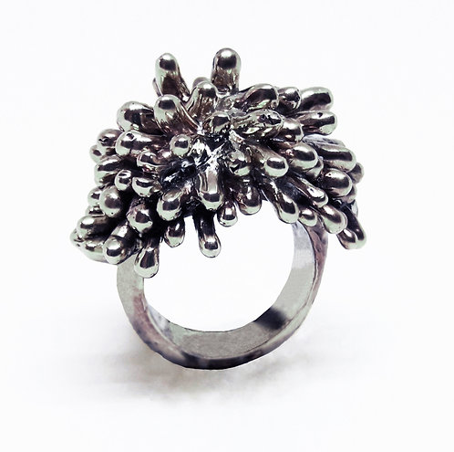 14K White Gold Statement Coral Ring
